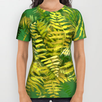 Golden Fern, floral art, green and yellow All Over Print Shirt by Clipso-Callipso