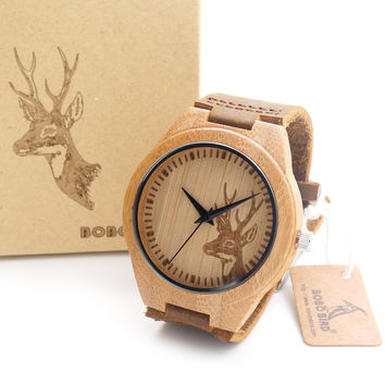 Engraved Elk Head Natural Wood Watch With Genuine Cowhide Leather Strap Lovers Luxury Cute Wristwatches Idea Christmas Gifts