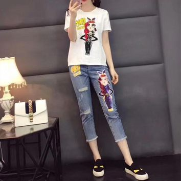 """Moschino"" Women Casual Fashion Hot Fix Rhinestone Cartoon Girl Short Sleeve T-shirt Sequin Jeans Trousers Set Two-Piece"