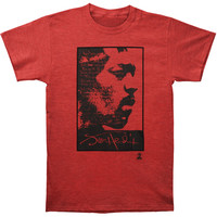 Jimi Hendrix Men's  Ask The Axis Over Dyed T-shirt Red