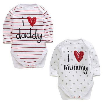 2018 mew hot I love daddy mummy summer bulk Cotton Newborn Baby Boy Girl Long Sleeve Romper Jumpsuit Outfit Clothes 3-12M