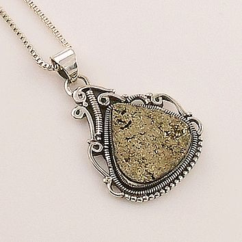Golden Pyrite Drusy Sterling Silver Pendant