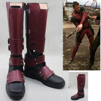 Deadpool Dead pool Taco Movie X-Men  Wade Wilson Boots Cosplay Shoes Red Boots Custom Made Shoe AT_70_6