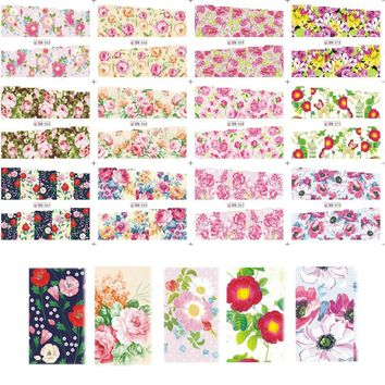 12 Designs in One Sets Summer Water Transfer Designs Nail Art Sticker Nail Decals Beauty Colorful Flower Full Tips BN061-072