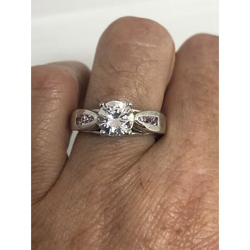 Bling Jewelry Rose Gold Plated 925 Sterling Silver Pink CZ Five Row Ring
