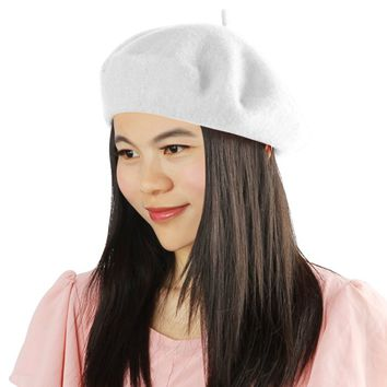 Womens French Style Beret Wool Warm Beanie Hat Cap