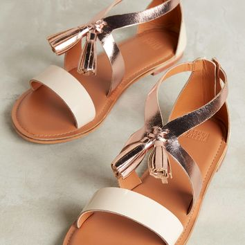 Tangerine Rose Gold Tassel Sandals