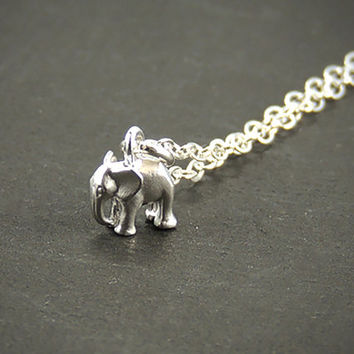Lucky Elephant  Charm Necklace. Silver Elephant. Personalized Initial Necklace. Elephant Initial Necklace. Elephant Jewelry. Mom Necklace.