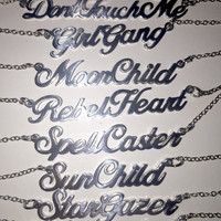 Silver Script Necklace