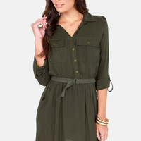 Beauty Brigade Army Green Shirt Dress