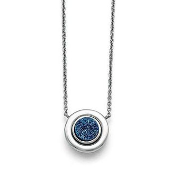 Stainless Steel Round Blue Druzy Pendant Necklace