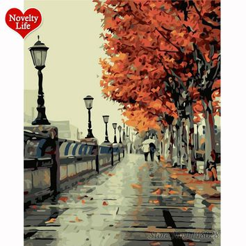 Framed Picture DIY Painting By Numbers Digital Oil Hand Paint On Canvas Coloring by Numbers Home Decoration Romantic Autumn Tree