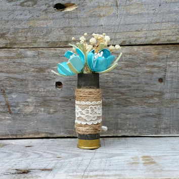 Rustic Wedding Shotgun Shell Boutonniere, Woodland Wedding, Grooms Boutonniere