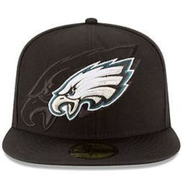 Philadelphia Eagles Hat Fitted Men's 59FIFTY Official Sideline Black New Era