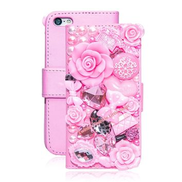 Apple iPhone 5 5S 5C Crystal 3D Leather Flip Phone Cases
