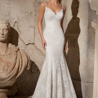 Mori Lee 2704 Delicate Lace Fit and Flare Wedding Dress