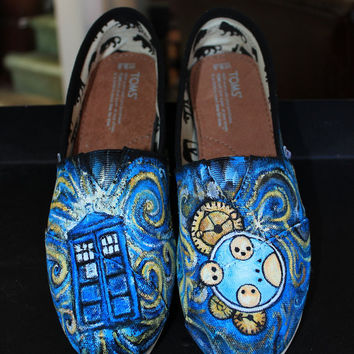 Custom Painted DOCTOR WHO Toms  Any size any shoe Dr. Who Tardis