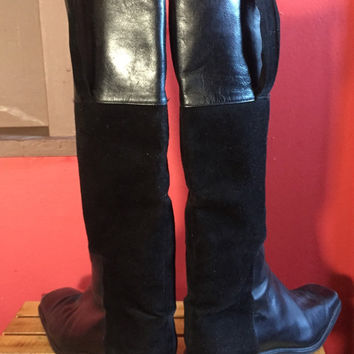 stuart weitzman black suede and leather square toe riding boots size 7.5 m