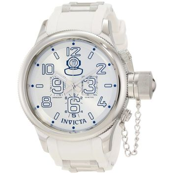 Invicta 1352 Men's Russian Diver Chronograph White Rubber Strap Silver Dial Watch