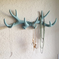MINT Faux Antlers Wall Mount // Rustic Wall Hook // Deer Antler Wall Hook // Faux Taxidermy Wall Decor // Jewelry Holder // Deer Head