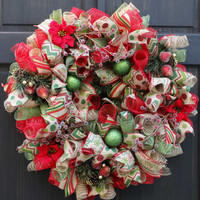 Christmas Burlap Wreath with Iced Fruits and Berries