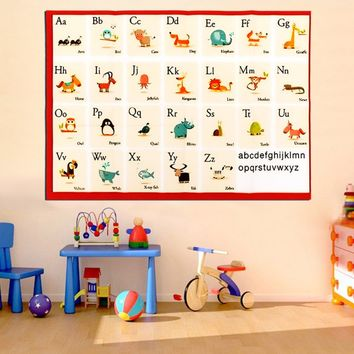 Children Education Alphabet Animal Kids Learning English Teach Silk Cloth Poster