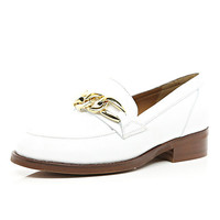 River Island Womens White leather chain trim loafers