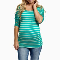 Mint Green Striped Crochet Sleeve Fitted Maternity Top