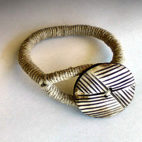 African Style Boho Rope Bracelet, Button Wrap Bracelet, Tribal Hemp Jewelry, Bone Button on Natural Hemp cord, Eco-friendly