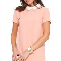 Short Sleeve Collared Long Back Mini Dress