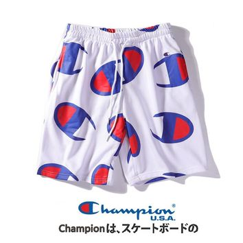 Champion Full Logo Print Sports Running Shorts White