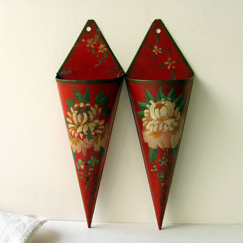 Vintage Wall Pocket Sconces Metal Hanging Vase Flower Holder Cone Wrapped Hand Painted Flowers Petals Original Matching Pair Valentines Gift