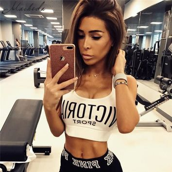 Macheda 2017 New Fashion Women Crop Top Cropped Padded Bra Black/ WhiteTank Top Vest Fitness Stretch Women's Tanks Workout Bras