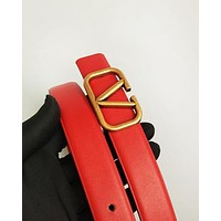 Valentino fashion hot seller men's and women's casual belt plain color belt Red belt #4