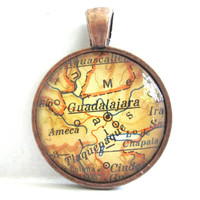 Guadalajara Mexico Pendant from Vintage Map by CarpeDiemHandmade