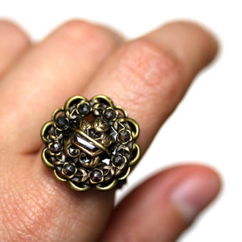 "Early 1900s Jewelry, Ring Button, Brass Cut Steel, Late 1800s, Antique Pierced Metal Flower Basket Cocktail Ring - ""Bed of Roses"""