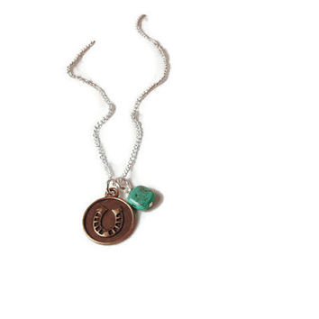 Horseshoe necklace - Lucky Necklace - Lucky Pendant - Horse Necklace - Bronze Necklace - Bronze Wishbone - Turquoise Necklace - Luck Charm