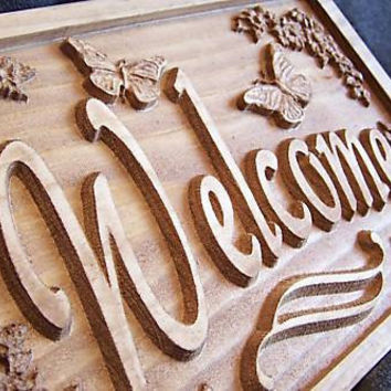 Personalized Family Name Signs CARVED Custom plaque sign welcom