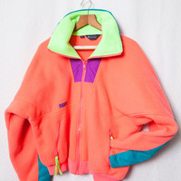 Neon Columbia Mens Fleece, Neon Peach Fleece Sweater, Neon Pink Fleece Sweatshirt, Size XL 80s Neon Sweater