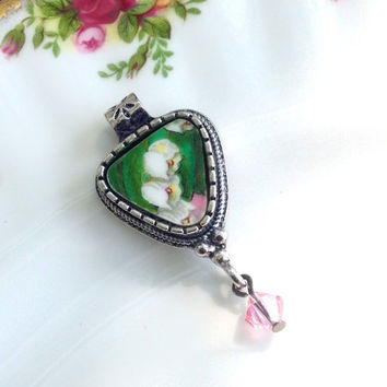 Broken China Jewelry Lily of the Valley Pendant Necklace Gift for Her