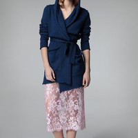 Wrap open front cardigan hoodie with patch pockets push-up sleeves - external seams - merino or linen viscose blend // 1401-16