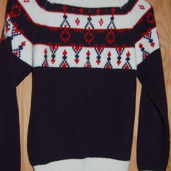 Vintage 60s JC Penney Pullover Fair Isle Tribal Nordic Ski Sweater Size Medium Boys 12-14 Womens XS