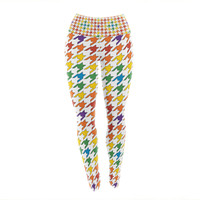 "Empire Ruhl ""Rainbow Houndstooth"" Yoga Leggings"