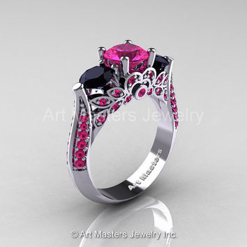 Art Masters Classic 14K White Gold Three Stone Pink Sapphire Black Diamond Solitaire Ring R200-14KWGBDPS