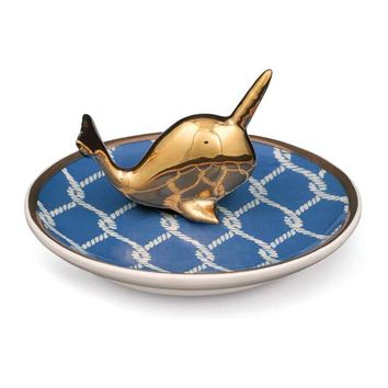 Ceramic Gold Narwhal Ring Holder Dish