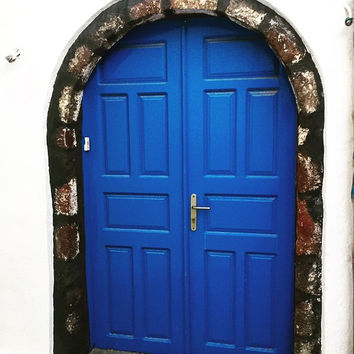 Door Photography Santorini Blue traditional Greek door wall art nautical home decor navy decor Island Greece photo Fine Art Giclee or Canvas