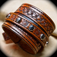 Custom hand tooled leather cuff bracelet made in NYC