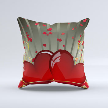 Gold Ribbon Love Hearts ink-Fuzed Decorative Throw Pillow