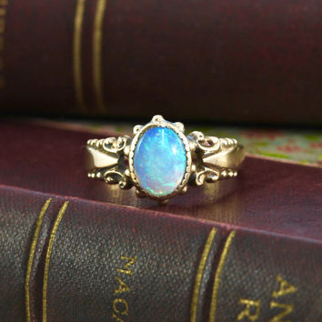 Victorian Opal Solitaire Ring, Antique 10k Yellow Gold, Bohemian Bridal Alternative Engagement Statement October Birthstone Jewelry Gift
