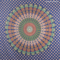 Queen Blue Indian Mandala Hippie Hippy Tapestry Wall Hanging Bedspread